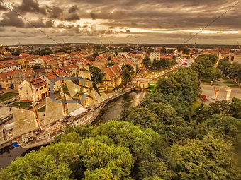 Klaipeda, Lithuania: representative aerial night view of Old Town