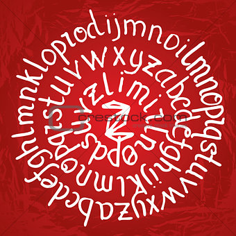 Abstract round lettering on red gradient background with texture