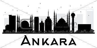 Ankara City skyline black and white silhouette.