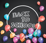 Back to school card with flying balloons and white frame.