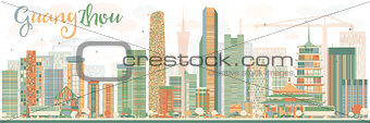 Abstract Guangzhou Skyline with Color Buildings.