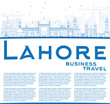 Outline Lahore Skyline with Blue Landmarks and Copy Space.