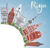 Riga Skyline with Landmarks, Blue Sky and Copy Space.
