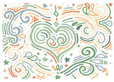 Decorative outline heart. Hand drawn swirl illustration of ethni