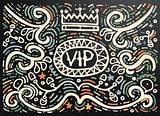 VIP. Hand drawn vintage print with decorative outline ornament.