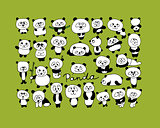 Funny pandas collection, sketch for your design