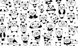 Funny pandas, seamless pattern for your design
