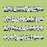 Funny panda family for your design