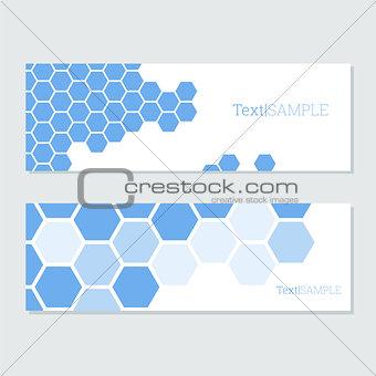 blue hexagons cards