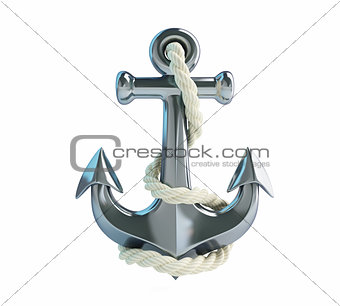 anchor and rope on a white background