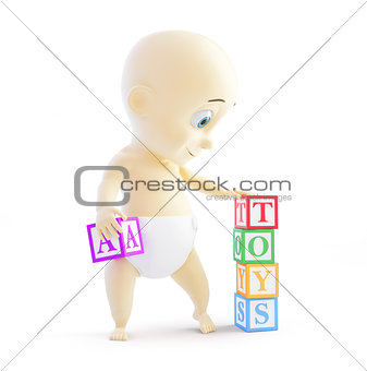 baby 3d alphabet blocks on a white background