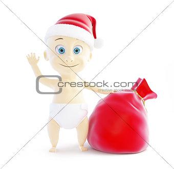 baby santa hat, santa bag on a white background