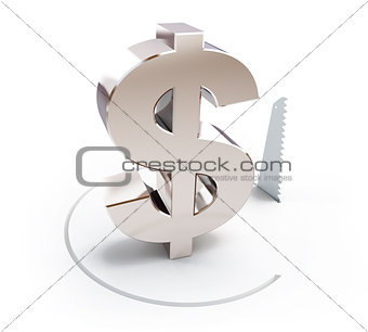 cutting a circle with a hand saw sign dollar