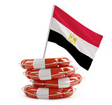 egypt flag in rescue circle, lifebuoy, life buoy 3d Illustrations on a white background