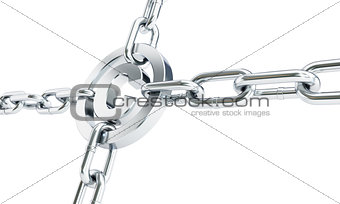 chain links metal copyright sign 3d Illustrations on a white background