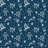 vector hand drawn doodles cartoon set of Space objects