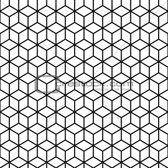 Cubes Black and white Seamless Pattern