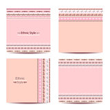 Set of cards with ethnic design. Geometric backgrounds.