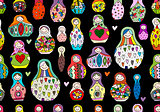 Seamless pattern with russian nesting dolls, Matryoshka