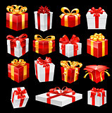 Bunch of gift boxes with ribbons. Vector