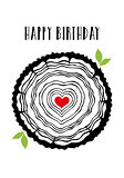 Birthday card with heart tree rings, vector