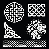 Celtic white knots, braids and patterns on black background - St Patrick's Day