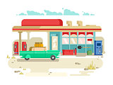 Gas stantion retro flat design