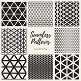 Vector Seamless Triangle Lines Pattern Collection