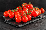 Cherry tomatoes on slate backgound