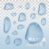 Water drops. Vector objects. Rain  on background.
