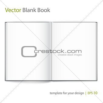 Blank of open book with cover on white background. Template