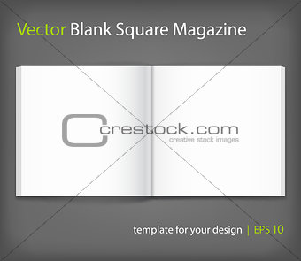Blank of open square book with cover on grey background. Template