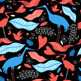 Seamless pattern with birds and autumn leaves