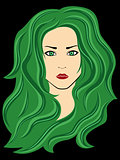 Abstract female with green hair over black