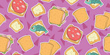 Cartoon seamless pattern with cute sandwiches