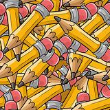 Seamless cartoon pattern with many pencils