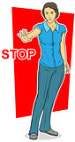Cartoon standing woman on red background