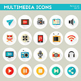 Detailed multimedia icon set