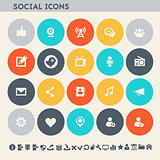 Social icon set. Multicolored square flat buttons