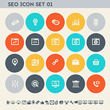 SEO icons, set 1. Multicolored square flat buttons