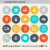 Computer icon set. Multicolored square flat buttons