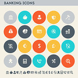 Banking icon set. Multicolored square flat buttons