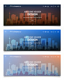 Blurred Polygonal Header Slider Webdesign Kit with City Skyline