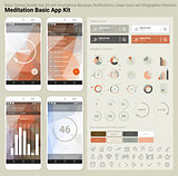 Flat design responsive UI mobile app and website template