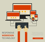 Trendy responsive webdesign technology page design template