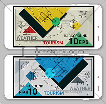 Tourism ad Weather line headers