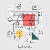 Social Marketing, Search Engine Optimization Line Concept