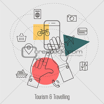 Tourism and Travelling Line Concept
