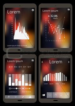 Flat infographics mobile mockups