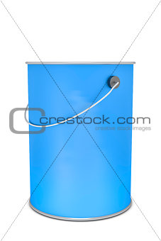 a blue paint bucket